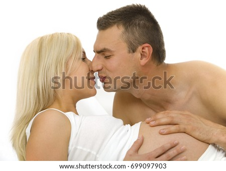 Beautiful pregnant couple spending time together #699097903