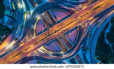 Top view city traffic of highway in Bangkok city, Bangkok, Thailand. #699183871