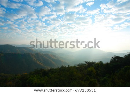 Landscape with beautiful clouds and mountain views, real scene without any light effects #699238531