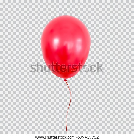 Red helium balloon. Birthday baloon flying for party and celebrations. Isolated on plaid transparent background. Vector illustration for your design and business.