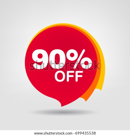 90% OFF Discount Sticker. Sale Red Tag Isolated Vector Illustration. Discount Offer Price Label, Vector Price Discount Symbol. Royalty-Free Stock Photo #699435538