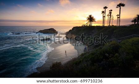 Sunset at Laguna Beach, Orange County, California Royalty-Free Stock Photo #699710236