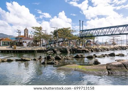 Bridge over Canal at Barra da Lagoa area of Lagoa da Conceicao - Florianopolis, Santa Catarina, Brazil #699713158