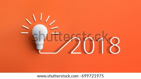 2018 creativity inspiration concepts with lightbulb on pastel color background.Business ideas
