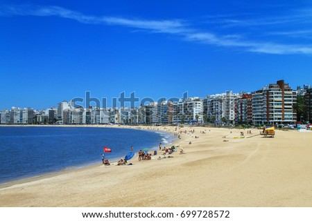 Pocitos beach along the bank of the Rio de la Plata in Montevideo, Uruguay. Montevideo is the capital and the largest city of Uruguay #699728572