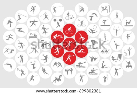 New sports icons and sports symbols, the flag of Japan Royalty-Free Stock Photo #699802381