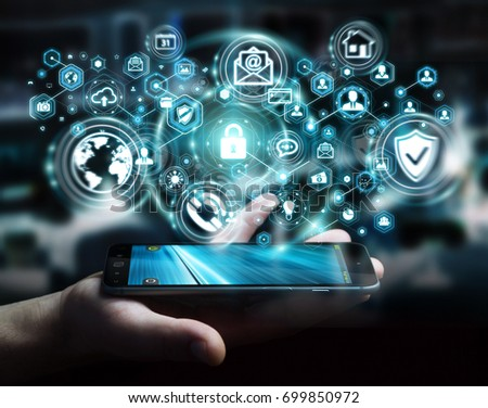 Businessman on blurred background protecting his data personal information 3D rendering #699850972