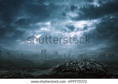 View of modern building with dark mist on the mystic dark city #699970372