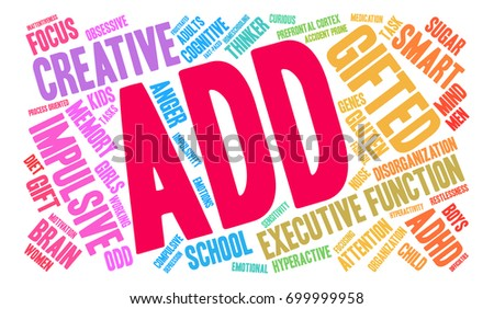 ADD word cloud on a white background.  #699999958