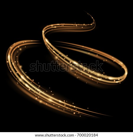Magic swirl lines. Golden light effect. Isolated sparkling trail.