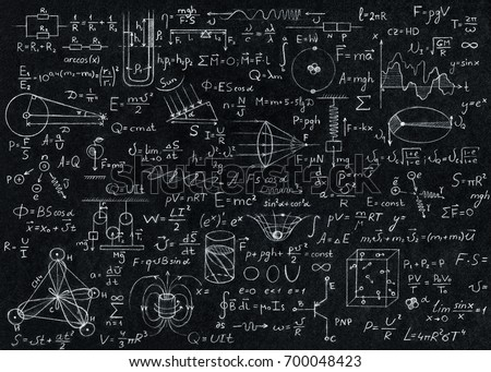 Blackboard inscribed with scientific formulas and calculations in physics. #700048423