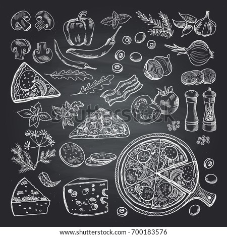 Illustrations of pizza ingredients on black chalkboard. Pictures set of italian kitchen Royalty-Free Stock Photo #700183576