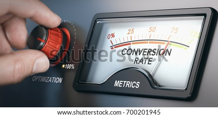 Hand turning optimization knob up to 100 percent and dial indicating conversion rate metrics. CRO concept. Composite image between a hand photography and a 3D background. #700201945
