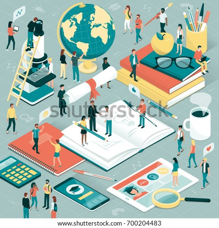 College and university students, researchers and professors studying together, school supplies and digital tablet: education and research concept Royalty-Free Stock Photo #700204483