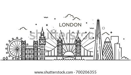 Minimal London city Linear Skyline. Line art Royalty-Free Stock Photo #700206355