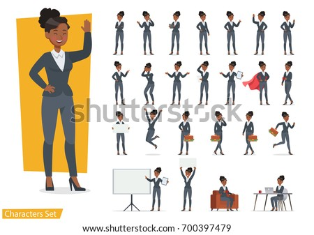 Businesswoman working character design set. Vector design. Royalty-Free Stock Photo #700397479