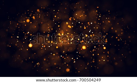 Gold abstract bokeh background. real backlit dust particles with real lens flare. glitter lights . Abstract Festivevintage lights defocused. Christmas and New Year feast. #700504249