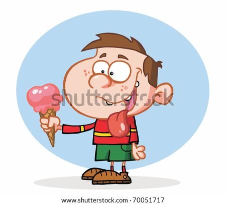 little boy eating an ice cream