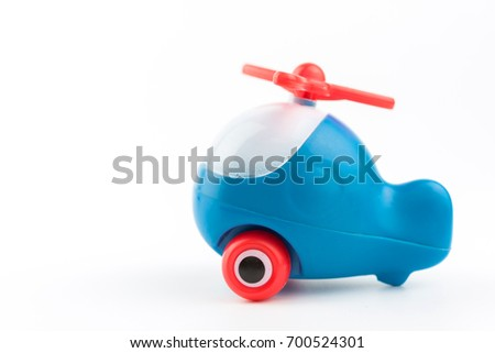 blue toy helicopter,Cartoon toy chopper isolated on white baclground