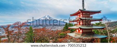 Mount Fuji and Chureito Pagoda at sunrise in autumn, Japan. #700535212