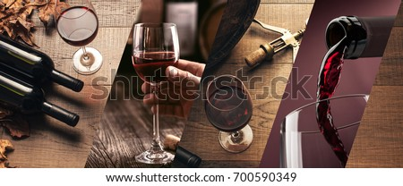 Wine tasting and winemaking photo collage with wine glasses and bottles Royalty-Free Stock Photo #700590349