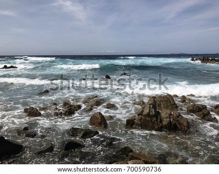 Waves and rocks on the Beach of the South Corsica ,during summer. #700590736