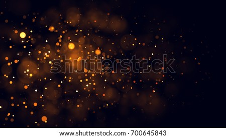 Gold abstract bokeh background. real backlit dust particles with real lens flare. glitter lights . Abstract Festivevintage lights defocused. Christmas and New Year feast. #700645843