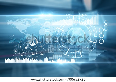 Abstract digital blue business screen on blurry interior background. Technology and analytics concept. 3D Rendering  #700652728