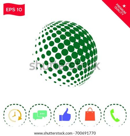 Earth logo - halftone sphere. #700691770