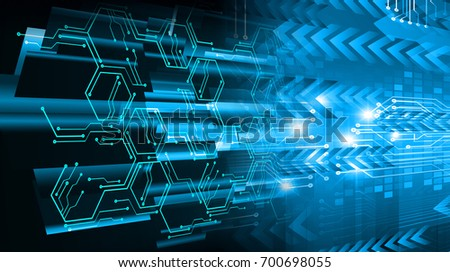 binary circuit future technology, blue cyber security concept background, abstract hi speed digital internet.motion move blur. pixel. #700698055