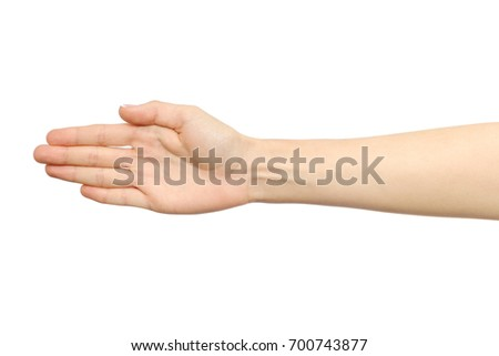 Woman's open palm isolated on white background #700743877