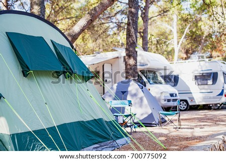 Picture of a tent by the adriatic seashore in Trogir's camping, Croatia