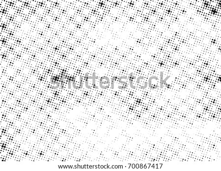 Grunge halftone black and white. Abstract black and white texture. Vintage grayscale monochrome #700867417