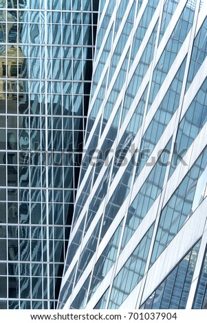 Modern glass office building, close up, low angle #701037904
