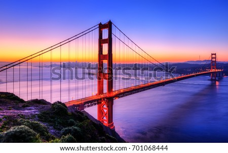 The Golden gate bridge at dawn #701068444