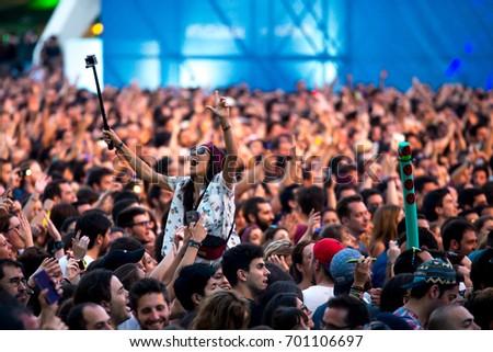 VALENCIA, SPAIN - JUN 11: The crowd at Festival de les Arts on June 11, 2016 in Valencia, Spain. #701106697