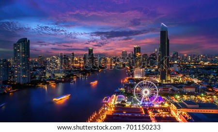 Bangkok cityscape. Bangkok night view in the business district. at twilight #701150233