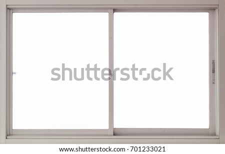 Clear Interior Stainless Steel Window Background, Isolated closed glass Panes view for Design #701233021