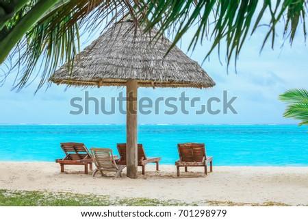 Beautiful sea beach at tropical resort #701298979