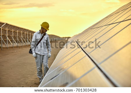 In the evening of the solar photovoltaic inspection engineer #701303428
