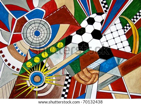 Original hand drawing of different sport types such as soccer, baseball, tennis, hockey. Modern abstract.