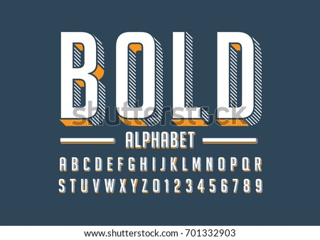 Vector of bold modern font and alphabet Royalty-Free Stock Photo #701332903