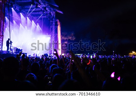 People At A Music Concert At Night #701346610