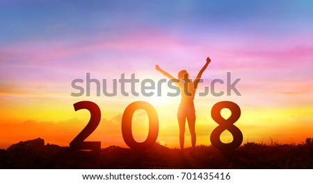 Happy new year 2018 - Happy Girl With 3D Numbers At Sunrise  #701435416