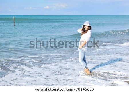 happy young woman relax onbeautiful  beach at morning #70145653