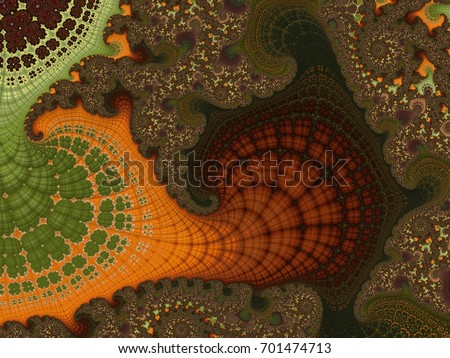 Fractal created based on the data. It is a mix of tundra, tropics, pine forests and many other plants. Organic structure of the ornament resembles the natural conditions of the world #701474713