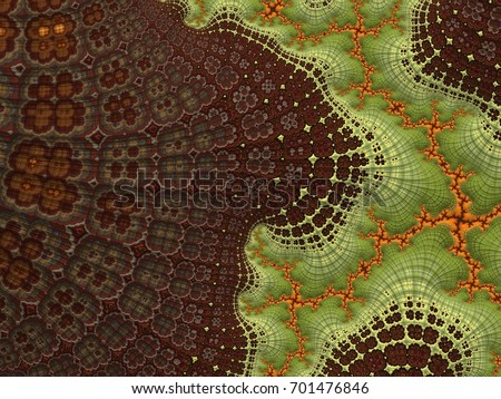Fractal created based on the data. It is a mix of tundra, tropics, pine forests and many other plants. Organic structure of the ornament resembles the natural conditions of the world #701476846