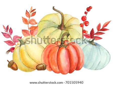 Beautiful composition of a pumpkin and autumn leaves, watercolor illustration