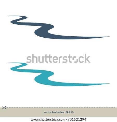 Creek Line Vector Logo Template Illustration Design. Vector EPS 10. Royalty-Free Stock Photo #701521294