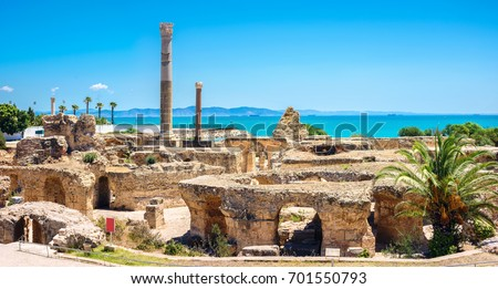 Panoramic view of ancient Carthage. Tunis, Tunisia, North Africa    #701550793